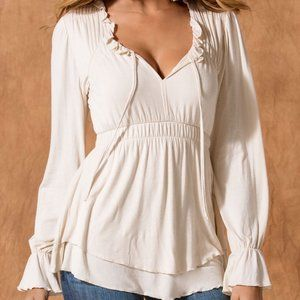 Boston Proper Poet Ruffle Long Sleeve Top Pearl